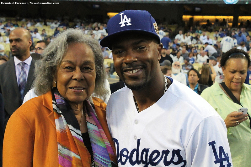 Rachel Robinson with Dodgers infielder  Jimmy Rollins before LA beat the Seattle Mariners 5-2 in Major League Baseball's Civil Rights Game. Photo Credit: Dennis J. Freeman/News4usonline.com