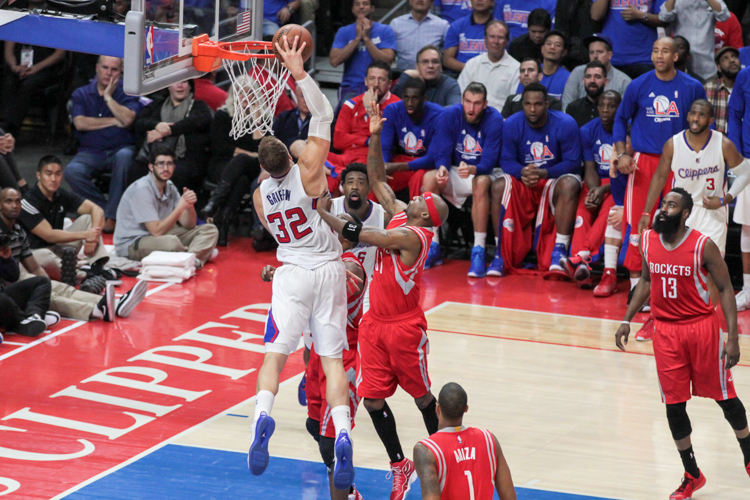 Blake Griffin on the dunk for two of 28 points in second quarter in Game 6 of the NBA second round series between the Los Angeles Clippers and Houston Rockets. Photo by Jevone Moore