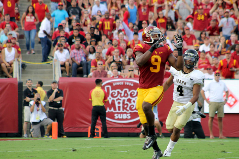 USC wide receiver Juju Smith-Schuster hauls in this 50-yard touchdown pass from quarterback Cody Kessler in the Trojans' 59-9 win against Idaho Saturday, Sept. 12, 2015. Photo by Dennis J. Freeman/News4usonline.com