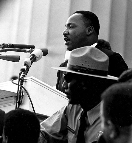"Dr. Martin Luther King giving his ""I Have a Dream"" speech during the March on Washington in Washington, D.C., on 28 August 1963. National Archives and Records Administration"