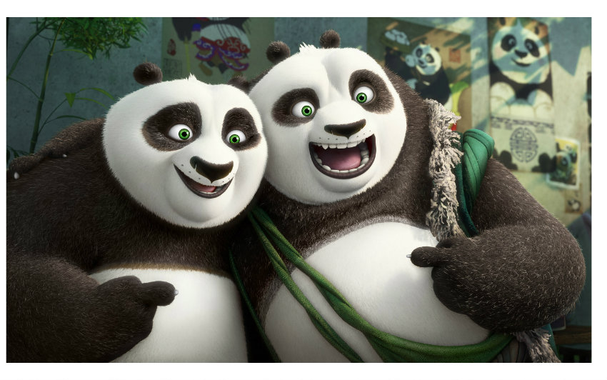 (L-R) Po (voiced by Jack Black) and his long-lost panda father Li (voiced by Bryan Cranston) pose for a portrait in DreamWorks Animation's KUNG FU PANDA 3.