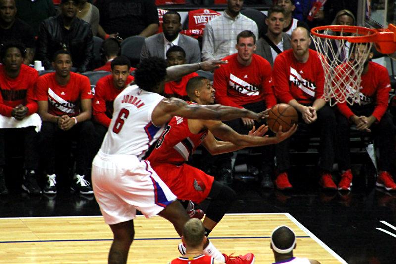 DeAndre Jordan getting defensive about it. Photo by Dennis J. Freeman/news4usonline.com