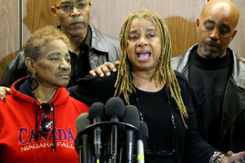 Mary Alexander (left) with Margaret Prescod of the Black Coalition Fighting Back Serial Murders after the verdicts were read in the trial of the Grim Sleeper (Lonnie White Jr.). Alexander's daughter, Alicia Alexander, was one of White's victims. Photo by Dennis J. Freeman/News4usonline.com