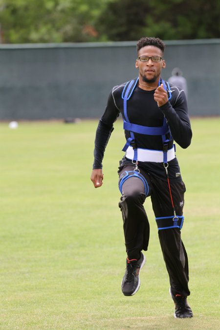 Aspiring sprinter Brandon Craig working out with his SpeedMaker. Courtesy photo
