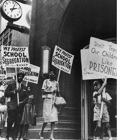 Protest march against the segregation of U.S. schools. Photo by National Archives and Records Administration.