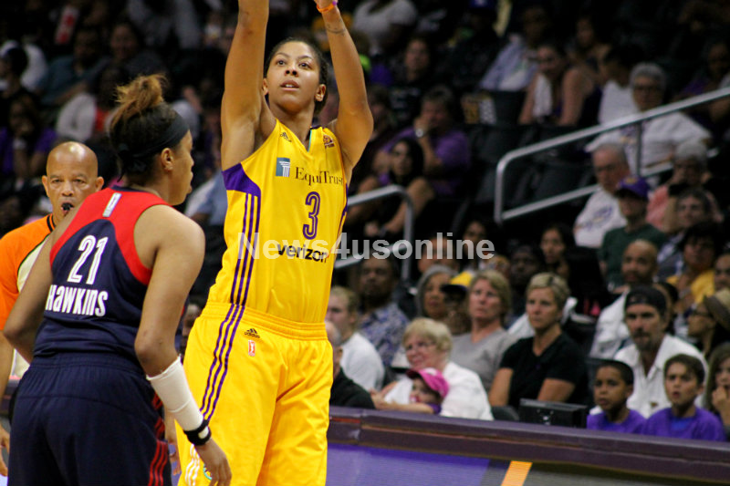 Candace Parker scored 26 points and grabbed 11 rebounds in the Los Angeles Sparks' 92-83 win against the Washington Mystics. Photo by Dennis J. Freeman/News4usonline