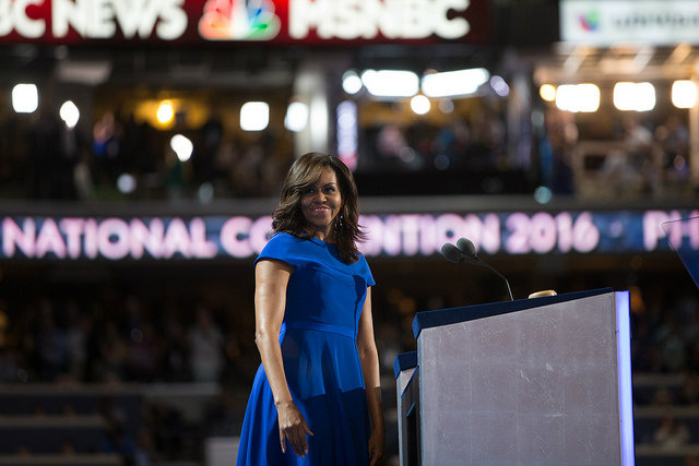 First Lady Michelle Obama at Day 1 of the Democratic National Committee Convention. Photo by Eric Schaff/DNCC