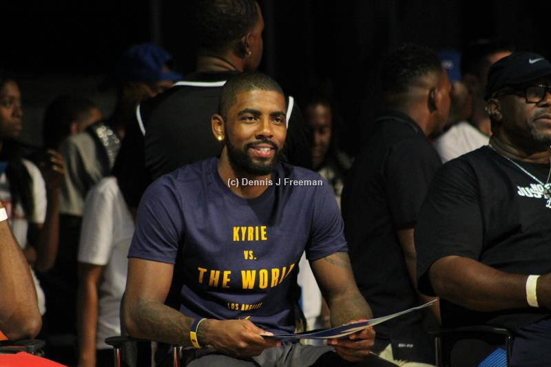 Cleveland Cavaliers guard Kyrie Irving was one of the judges at the Nike Basketball fan event dunk contest in Hawthorne, California. Photo by Dennis J. Freeman/News4usonline.com