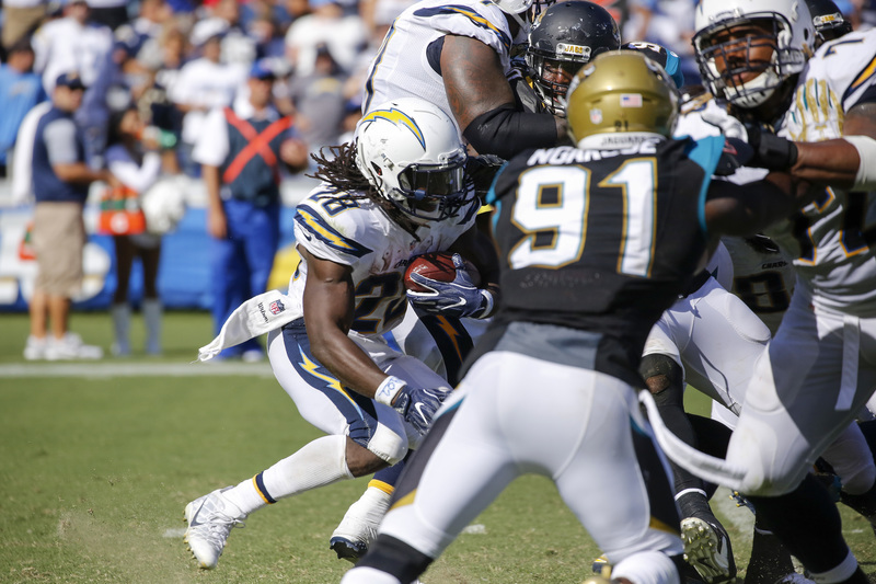 San Diego Chargers running back Melvin Gordon (28) making his way through a maze of Jacksonville Jaguars defenders in the Chargers' 38-14 win at Qualcomm Stadium on Sunday, Sept. 18, 2016. Photo by Tiffany Zablosky/News4usonline