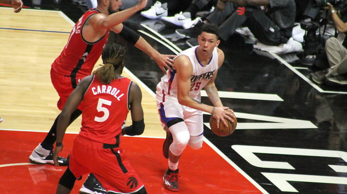 Austin Rivers looks for room to pass the ball against the Toronto Raptors in the first home preseason game at Staples Center for the Los Angeles Clippers. Photo by Dennis J. Freeman/News4usonline.com