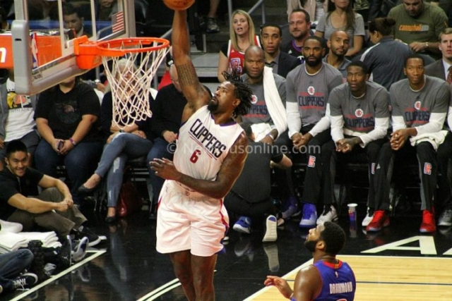DeAndre Jordan goes for two points against the Detroit Pistons in the Los Angeles Clippers' 114-82 win at Staples Center on Monday, Nov. 7, 2016. Photo by Dennis J. Freeman/News4usonline.com