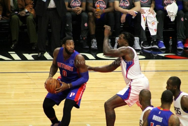 The Pistons Andre Drummond looks to score against DeAndre Jordan of the Los Angeles Clippers on Monday, Nov. 7, 2016. Photo by Dennis J. Freeman/News4usonline.com