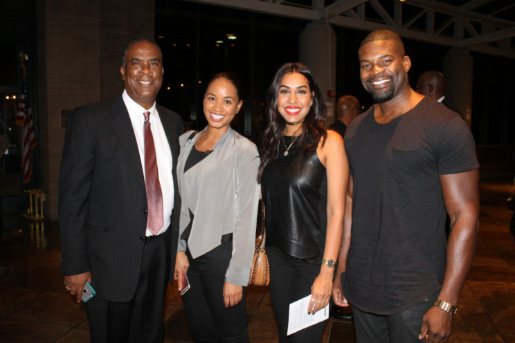 California African American Museum Executive Director George O. Davis (left) hangs out with friends during the museum's gala Oct. 19, 2016. Photo by Dennis J. Freeman/News4usonline.com