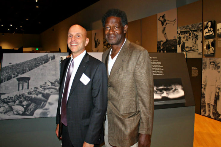 "Tim Kaiser (left) of the United States Holocaust Museum and Olympian Reynaldo ""Ray"" Brown"