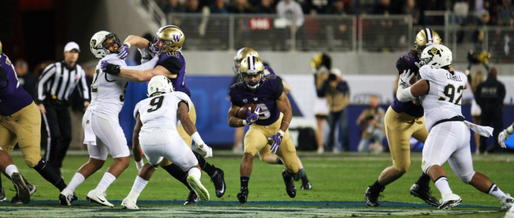 Washington running back Myles Gaskin (9) rushed for 159 yards in the Pac-12 Conference Championship Game against Colorado on Friday, Dec. 2, 2016. Photo by William Johnson/News4usonline.com