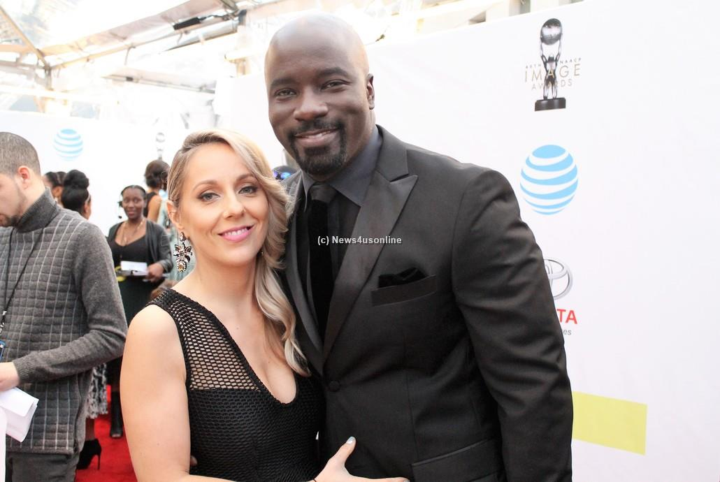 """Luke Cage"" star Michael Colter with wife Iva on the red carpet at the 48th Annual NAACP Image Awards on Saturday, Feb. 11, 2017. Photo by Dennis J. Freeman/News4usonline"