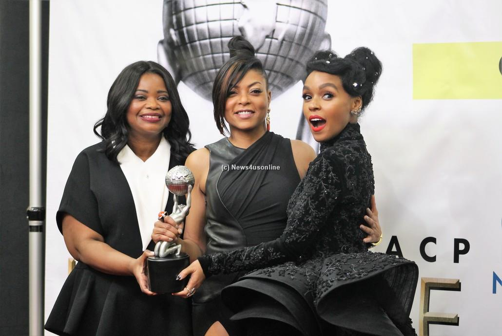 """Hidden Figures"" stars Octavia Spencer, Taraji P. Henson and Janelle Monae celebrate backsgae of the 48th Annual Image Awards as their film won the prize for Outstanding Motion Picture. Photo by Dennis J. Freeman/News4usonline"