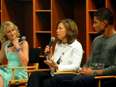 Oakland Raiders CEO Amy Trask, sitting between Tampa Bay Buccaneers quarterback Josh Freeman and Andrea Kremer, is one of the few women in management positions in the NFL.