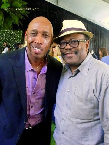 Singer Jeffrey Osborne (left) will be making his Playboy Jazz Festival debut in June. EUR (Electronic Urban Report) founder Lee Bailey shares a light moment with Osborne at the Playboy Mansion. Photo Credit: Dennis J. Freeman