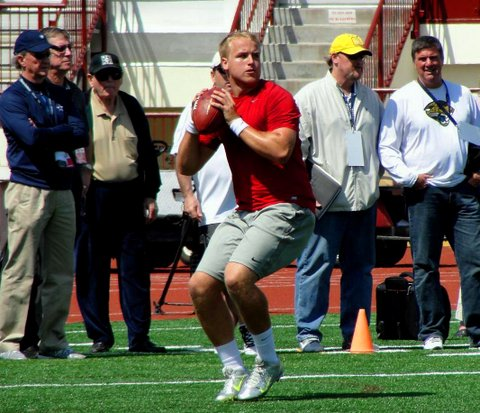 Former USC quarterback got to show off his arm in front of NFL scouts. Credit: Dennis J. Freeman