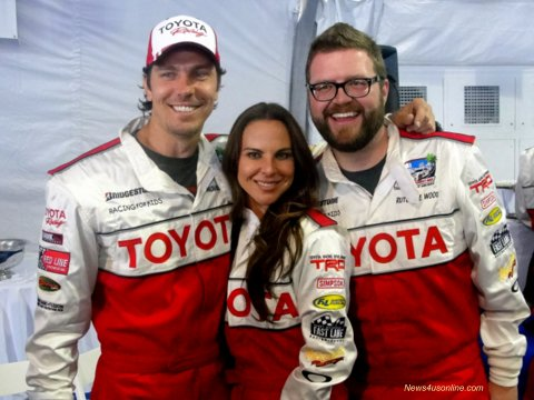 Actor Michael Trucco (Revenge), actress Kate del Castillo (Under the Same Moon) and Rutledge Wood are all smiles at the Toyota Grand Prix of Long Beach Pro/Celebrity Race Press Day. Photo Credit: Dennis J. Freeman