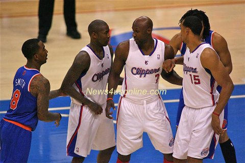 Jamal Crawford, Lamar Odom (7) and Ryan Hollins (15) will have to pull it together in order for the Los Angeles Clippers to force a Game 7 at Staples Center. Photo Credit: Jon Gaede/News4usonline.com