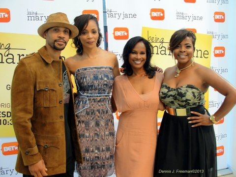 """""""Being Mary Jane"""" cast members Aaron Spears (left to right), Latarsha Rose and  Robinne Lee. Photo: Dennis J. Freeman"""