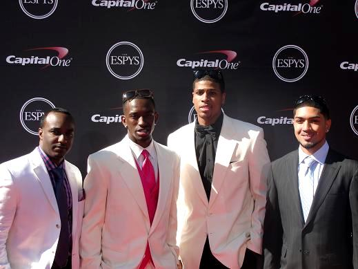 Kevin Ware (second from left) and Peyton Silva (far right) and Louisville teammates at the 2013 ESPY Awards. Photo: Dennis J. Freeman