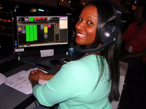 Heather Gaskins works behind the scenes at Staples Center and Nokia Theatre/LA Live. Photo Credit: Dennis J. Freeman