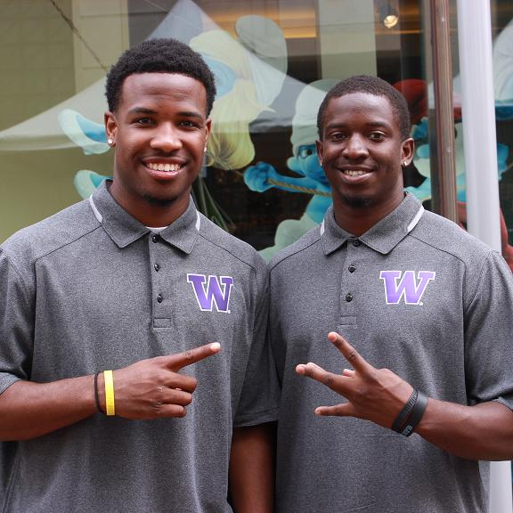Wasington quarterback Keith Price (left), shown here with teammate Sean Parker during the Pac-12 Conference Media Day, is looking for a great 2013 campaign. Photo Credit: Andascha Moore-Pryor