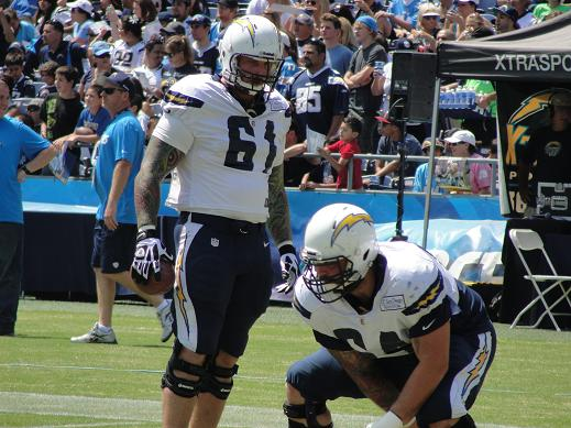 The Chargers loss center Nick Hardwick (61) at the beginning of the season. Photo Credit: Dennis J. Freeman/News4usonline.com