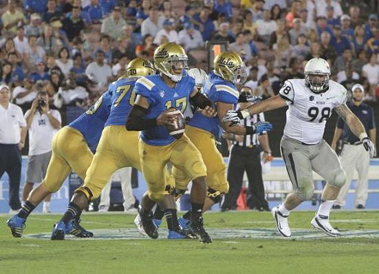 Leading the way: UCLAquarterback Brett Hundley leads the Bruins to a 58-20 win over Nevada. Photo Credit: Jevone Moore/360 Full Image