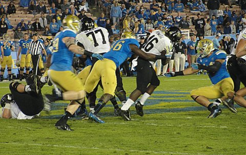 UCLA put the Colorado Buffaloes on lockdown in the second half of a 45-23 win at the Rose Bowl. Photo Credit: Dennis J. Freeman/News4usonline.com