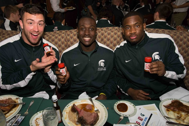 Taiwan Jones and his Michigan State teammates show off some seasoned salt.