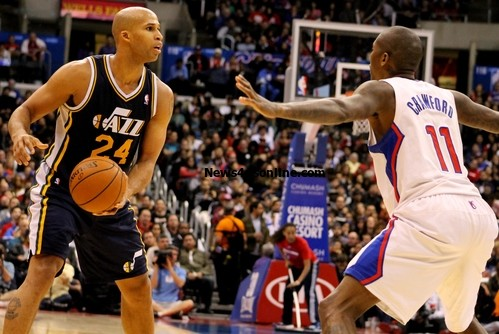 Lock up: Jamal Crawford scored 27 points against the Utah Jazz but also played some great defense as he does against Richard Jefferson. Photo Credit: Dennis J. Freeman/News4usonline.com