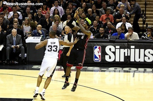 LeBron James goes to work for two of his 35 points in Game 2 of the NBA Finals. Photo Credit: Antonio Uzeta/News4usonline.com
