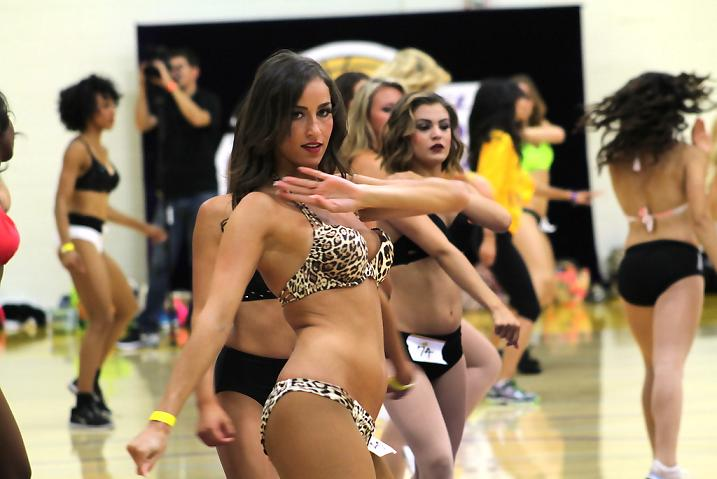 Working it out: This dancer tries to get it right during the 2014 Lakers Girl audition. Photo Credit: Dennis J. Freeman/News4usonline.com