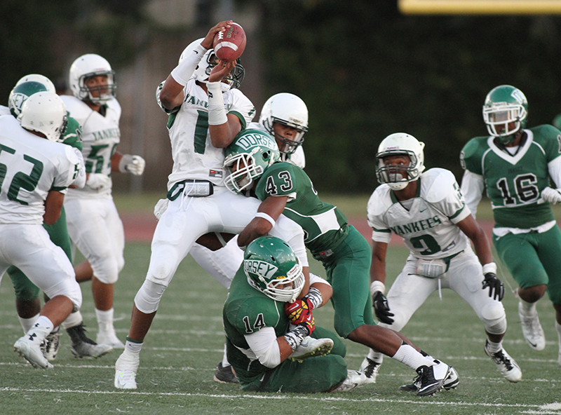 Dorsey Defense was on Hamilton Armani Rogers all night. Photo by Jevone Moore /News4usonline.com /Courtesy of Full Image 360