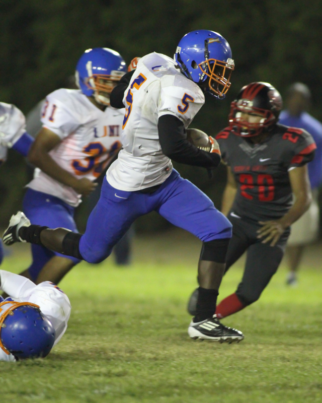 University utility player Tyrone Nelson (5) on his way to 68 yard Kickoff Return for a Touchdown. Photo Credit: Jevone Moore Courtesy of Full Image 360 / News4usonline.com