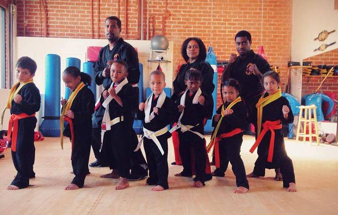 Martial arts instructor Cliff McDuffy (rear left) is Inglewood's 'Equalizer.' Courtesy photo