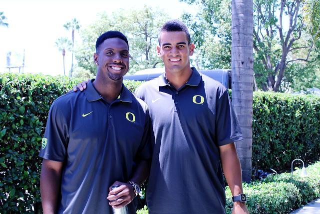 Oregon quarterback Marcus Mariota (right) at the 2014 Pac-12 Football Media Day. Photo Credit: Dennis J. Freeman/News4usonline.com