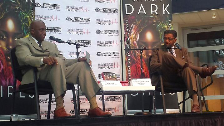 """Actor and author Bill Duke discusses his book, """"Dark Girls"""" at the Urban Issues Breakfast Forum with Dr. Anthony Asasullah Samad."""