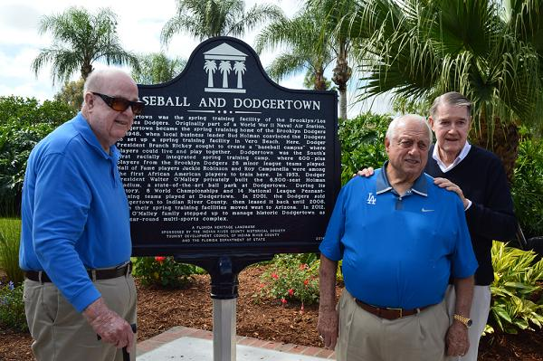 Vero Beach community leader Bud Holman, Tommy Lasorda and Peter O'Malley at Florida Heritage Landmark ceremony Monday at Historic Dodgertown in Vero Beach, Fla.
