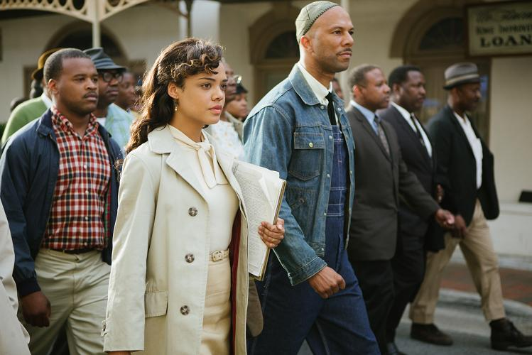 Tessa Thompson (center left) plays Diane Nash and Common (center) plays James Bevel in SELMA, from Paramount Pictures, Pathé, and Harpo Films.
