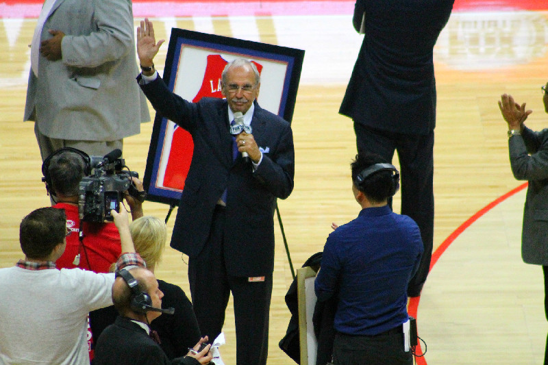 Longtime Clippers announcer Ralph Lawler being honored at halftime of the team's home game against the Minnesota Timberwolves Monday, March 9, 2015. Photo by Dennis J. Freeman/News4usonline.com
