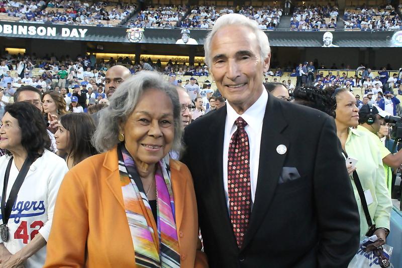 Rachel Robinson with Dodgers legend Sandy Koufax during pregame festivities of Jackie Robinson Day. Photo Credit: Dennis J. Freeman/News4usonline.com