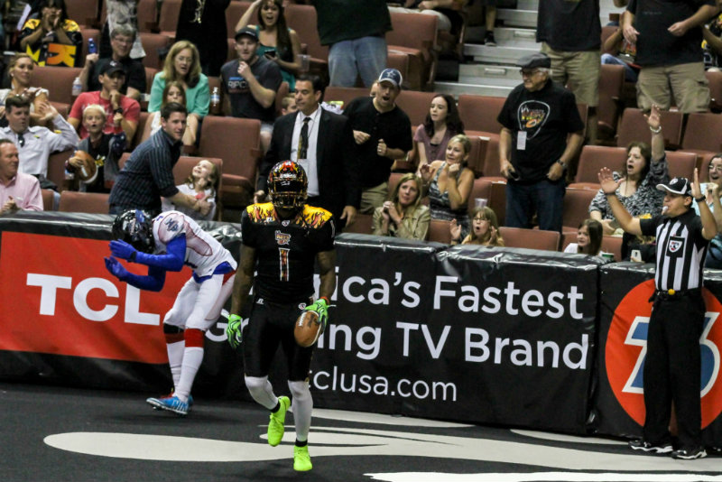 Donovan Morgan after scoring one of his three touchdowns on the night against the Portland Thunder. Photo by Jevone Moore/News4usonline.com