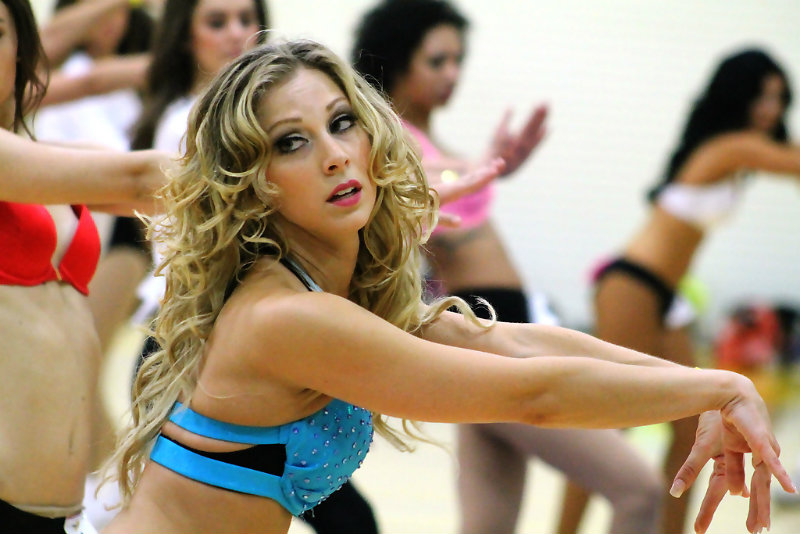 This participant works it out during the 2015 Laker  Girls  tryout on Saturday, July 11, 2015. Photo by Dennis J. Freeman