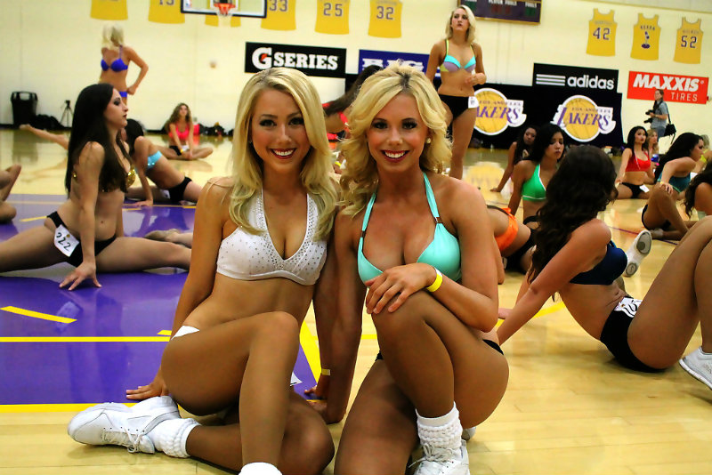 Double trouble: Two performers looking pretty happy after surviving the first round of cuts during the 2015 LA Laker Girls tryout Saturday, July 11, 2015. Photo by Dennis J. Freeman