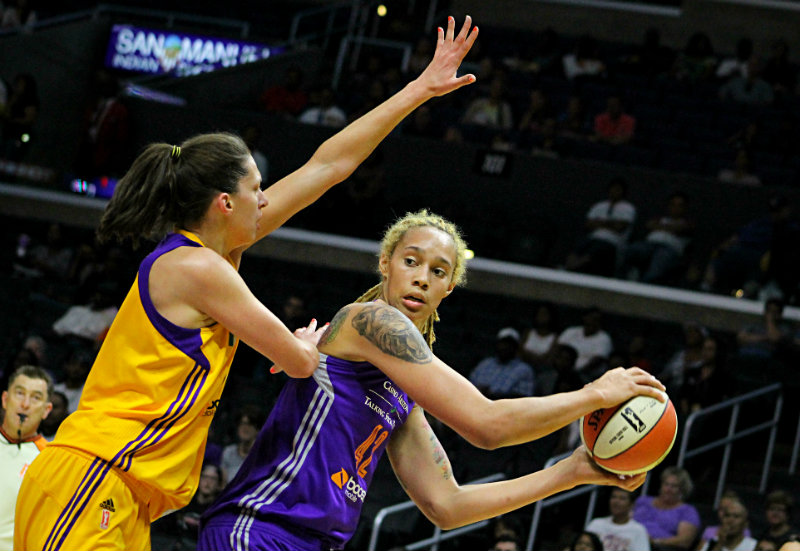 Phoenix Mercury forward/center Brittney Griner looks to make a move against the defense of the Los Angeles Sparks Sunday, July, 2015. Photo by Dennis J. Freeman